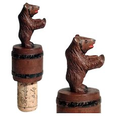 Hand Carved  Bottle Stopper Bear on Barrel Black Forest ca. 1900/20