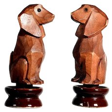 Lovely Bottle Stopper Hand Carved Dachshund Black Forest