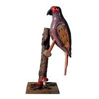 Swinging Bird on Branch Folk Art Toy