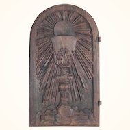 Late Baroque Wooden Tabernacle Door Hand Carved Religious Chalice