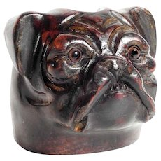 Stunning Pipe Holder Dog Head Bulldog or Boxer Hand Carved