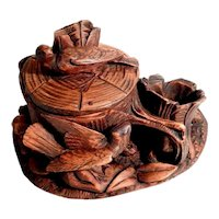 Small Hand Carved Tobacco Pot Game Birds Folk Art Black Forest