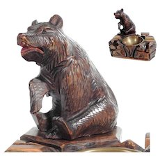 Large Hand Carved Smoker Servant Black Forest Sitting Bear 1880/1900