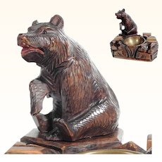 Large Hand Carved Smoker Servant Black Forest Sitting Bear 1880/1900