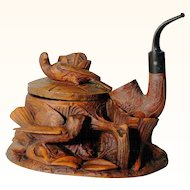 Hand Carved Tobacco Pot with Pipe Folk Art Black Forest ca. 1900