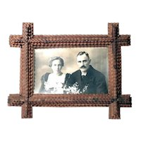 Nice Wooden Tramp Art Wall Frame