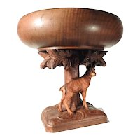 Hand Carved Foot Tray Tazza Mountain Goat Center Piece