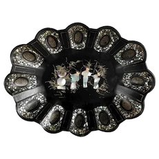 Chinoiserie Papier Mache Tray Center Piece Mother of Pearl Inlays