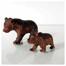 Miniature Black Forest Hand Carved Wooden Bears