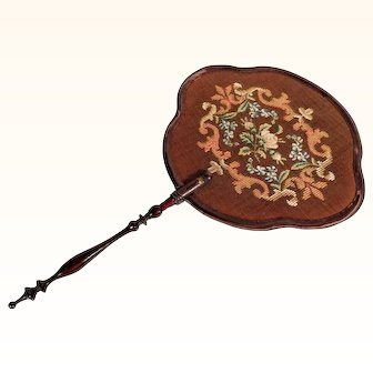 19th Century French Screen Face Fan Silk Embroidery Turned Handle - Amazing!
