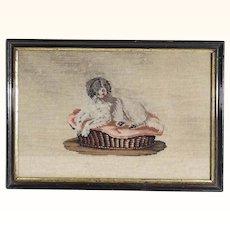Early Victorian Era Needlepoint King Spaniel Dog