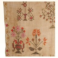 19th Century Sampler Persons and Flowers