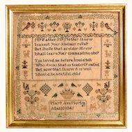Fabulous Sampler 1845 Mary Ann Mortimer Aged 10 Years Hymns for Infant Mines