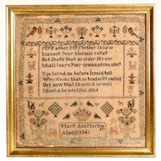 Fabulous Sampler 1845 Mary Ann Mortimer Aged 10 Years Hymns for Infant Mines
