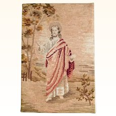 Beautiful Handmade Needlepoint Embroidery Picture Jesus ca. 1900