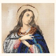 Beautiful Beadwork on Punched Paper Praying Virgin