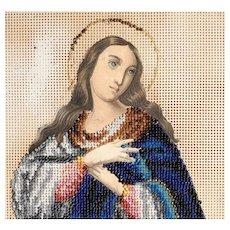 Beautiful Beadwork on Punched Paper Praying Virgin