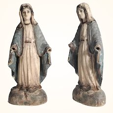 19th Century Statue of the Virgin of Mercy with Serpent Hand Carved