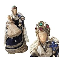 Monastery Work Virgin with Child Wax Sculpture Cerostata