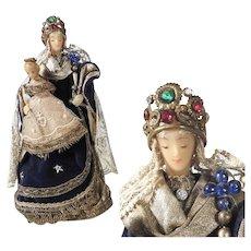 Monastery Work Virgin with Child Wax Sculpture Cerostata