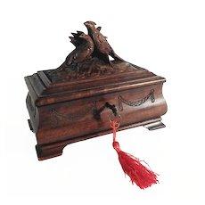 Antique Hand Carved Wedding Casket Game Birds