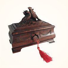 Antique Hand Carved Wedding Casket Game Birds