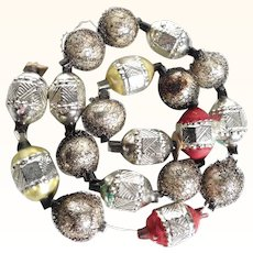 Amazing 12 Inches Chain Made of 19 Tiny Christmas Ornaments Mercury Glass