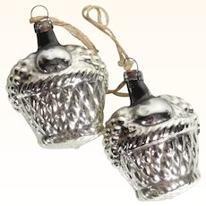 Pair of Christmas Ornaments Basket with Fruits Mercury Glass