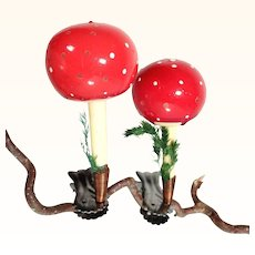 Lovely Pair of Mushrooms on Clip Toadstool Christmas Ornaments
