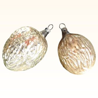 Two Large Nuts Christmas Ornaments Mercury Glass