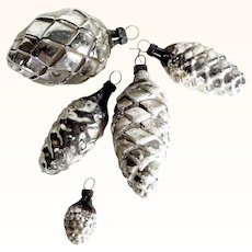 Five Christmas Ornaments Cones Mercury Glass