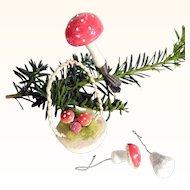 Four Delicious Spun Cotton Christmas Ornaments Basket Mushrooms Bells