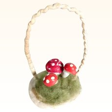 Darling Spun Cotton Christmas Ornament Basket with Mushrooms