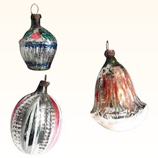 Three German Christmas Ornaments Mercury Glass Different Shapes Bell Pumpkin Basket