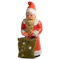 Old Santa Container with Basket Papier Mache Board