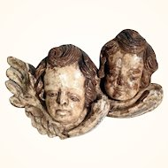 19C German Folk Art Hand Carved Cherub Heads Creche Wall Hanging
