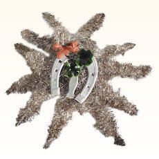 Large Tinsel Star with Double Lucky Charm Christmas Ornament