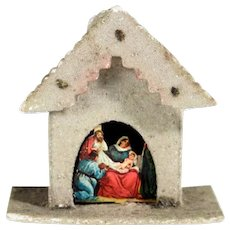 Adorable Christmas Ornament Creche Dresdner Board and Mica