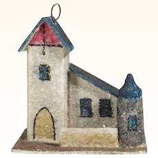 Lovely Christmas Ornament Church Dresdner Board and Mica