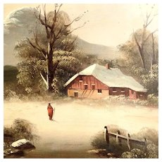 Charming Snowy Landscape Winter ca. 1880