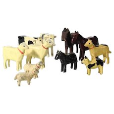 Wooden Miniature Animals Handmade and Painted Dogs Cows Horses Sheep