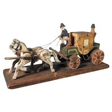 German Handmade Carved and Painted Carriage & Horses Erzgebirge ca. 1920