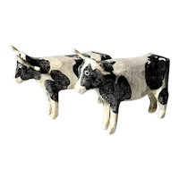 Nice Pair of Wooden Spotty Cows Hand Carved and Painted