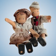 Darling Pair of Wooden Dolls Boy and Girl