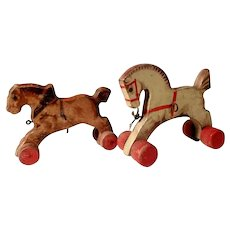 Pair of German Wooden Pull Toys Horses