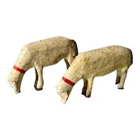 Pair of Lovely Wooden Sheep Hand Carved and Painted Doll Village