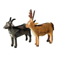 Wooden Animals Goat and Stag Hand Carved and Painted Doll Village
