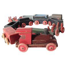 Handmade and Painted Wooden Miniature Train Engine and Freight Cars 11 Pieces