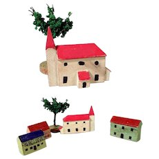 Nice Miniature Wooden Houses and Church for a Doll Village