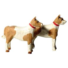 LAYAWAY -Darling Pair of Wooden Dogs Hand Carved and Painted Doll Village